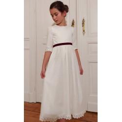 Robe Joséphine base Clochette dentelle anglaise