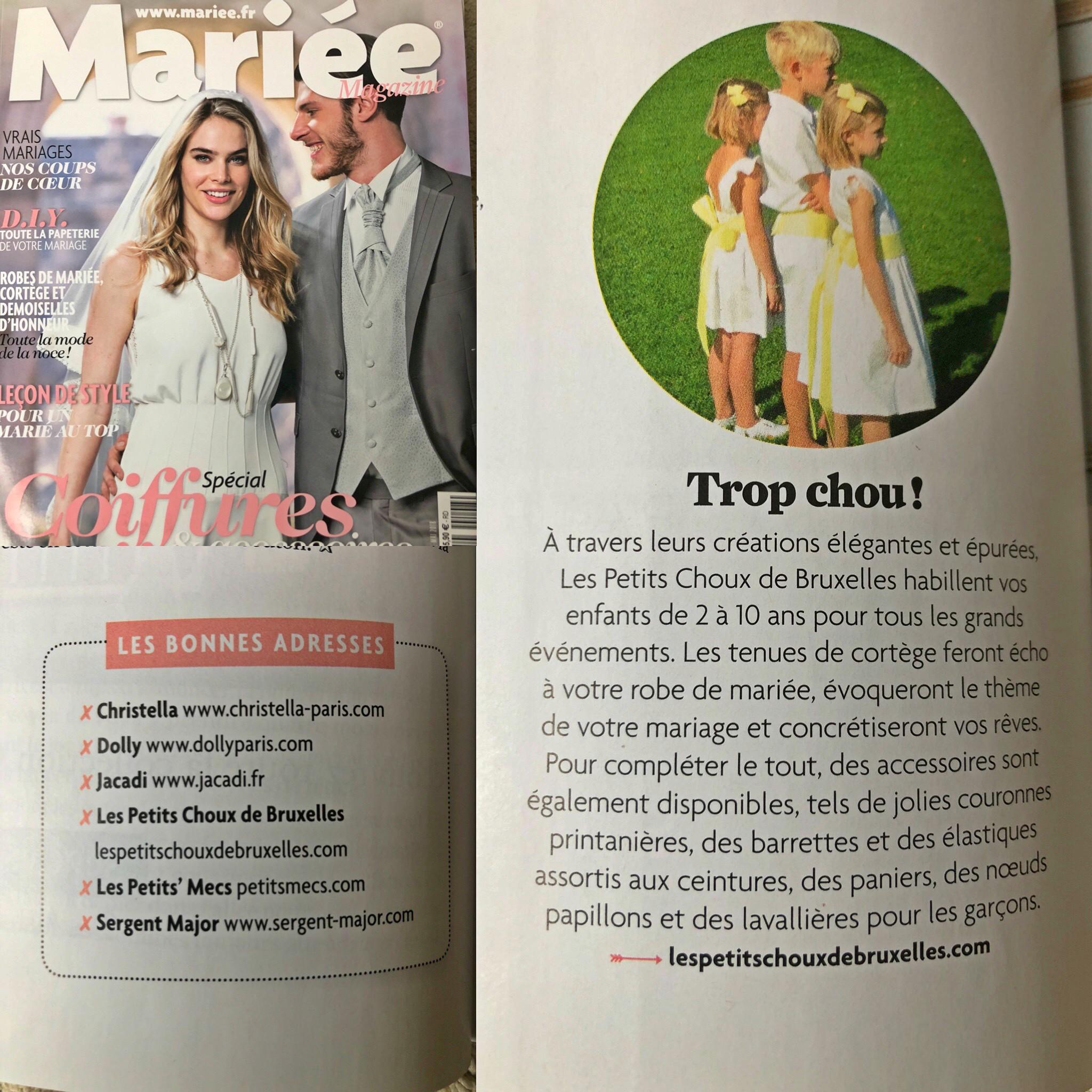 Les petits choux de Bruxelles (tenues d'enfants d'honneur personnalisables) dans Mariée Magazine de mars 2018